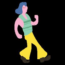 Personaje hippie caminando doodle