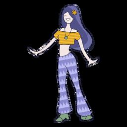 Dibujos animados de chica hippie