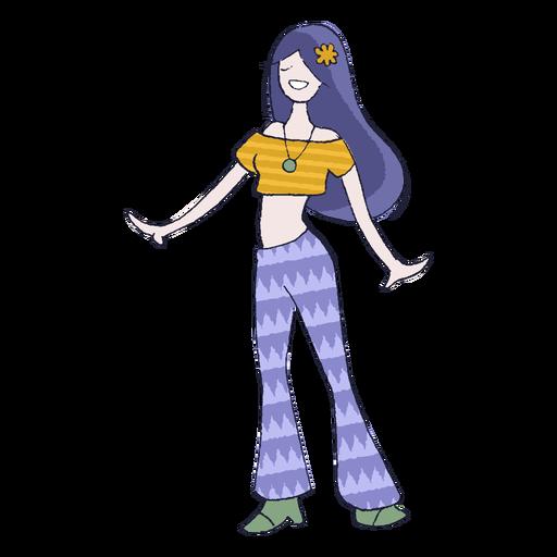 Hippiemädchen-Karikatur Transparent PNG