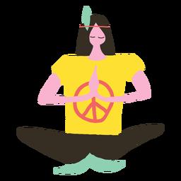Hippie hombre haciendo yoga doodle
