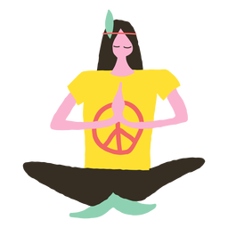 Hippie man doing yoga doodle