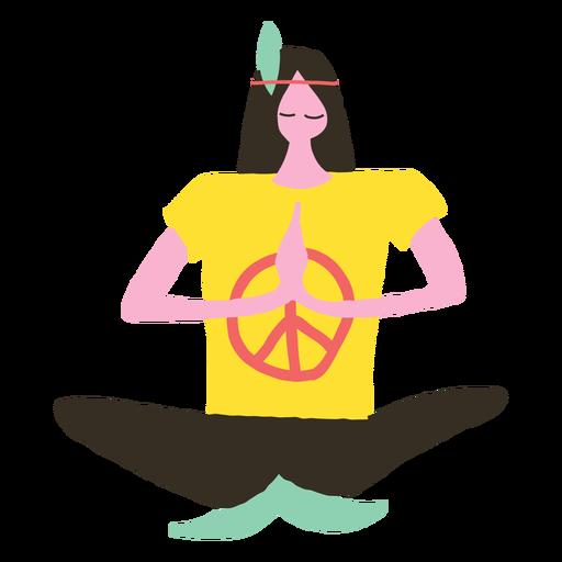Hombre hippie haciendo yoga doodle