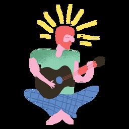 Hippie hombre tocando guitarra doodle