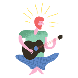Hippie man playing guitar doodle