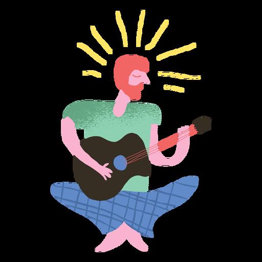 Doodle de hombre tocando la guitarra hippie Transparent PNG