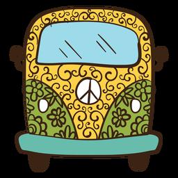 Doodle colorido de van hippie