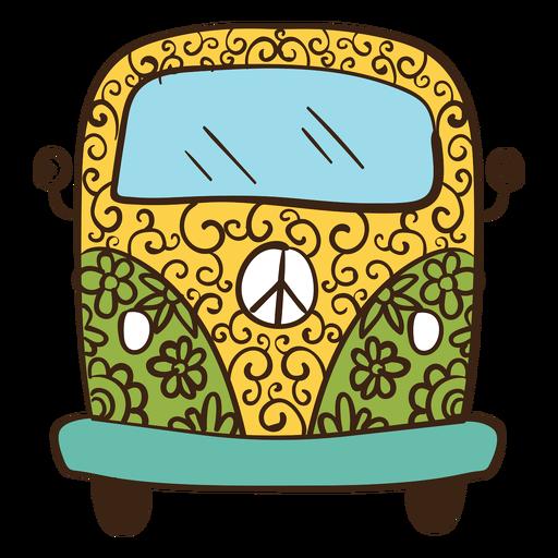Hippie van coloreado doodle Transparent PNG
