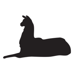 Isolated llama lying silhouette