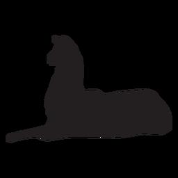 Isolated llama lying silhouette
