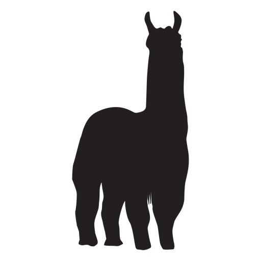 Isolated llama standing silhouette Transparent PNG