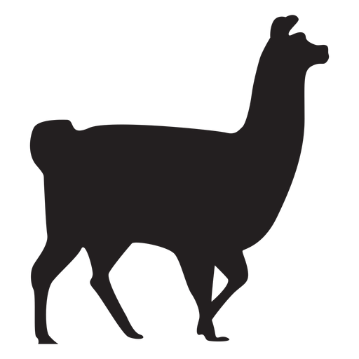 Isolated llama walking silhouette Transparent PNG