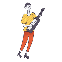 Keytar player cartoon