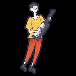 Keytar player cartoon