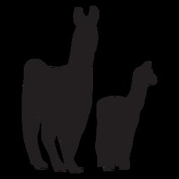 Llama and cria silhouette