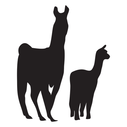 Llama and cria silhouette Transparent PNG