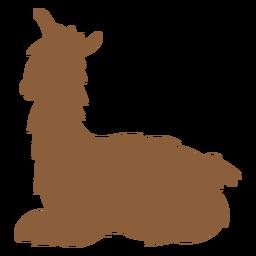 Llama lying silhouette