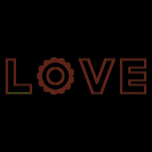 Love lettering stroke element Transparent PNG