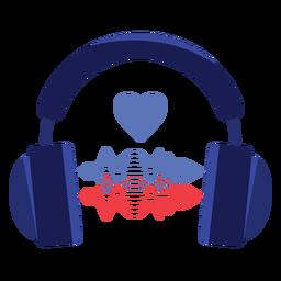 Amo o ícone de fones de ouvido de ondas sonoras