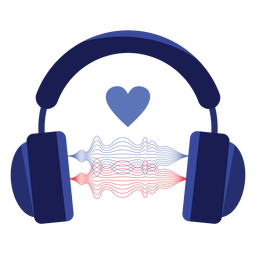Love sound wave headphones icon