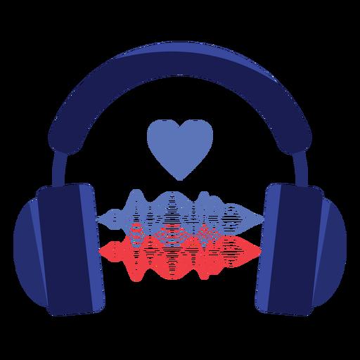 Icono de auriculares de onda de sonido de amor Transparent PNG