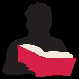 Hombre leyendo libro silueta gente leyendo