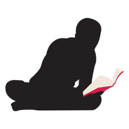 Man reading on floor silhouette