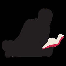 Mann liest am Boden Silhouette