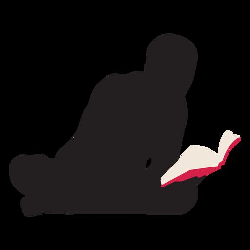 Hombre leyendo en silueta de piso