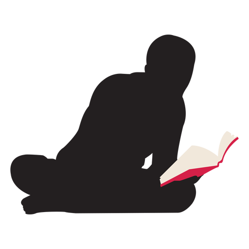Man reading on floor silhouette Transparent PNG