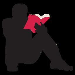 Homem, leitura, silueta