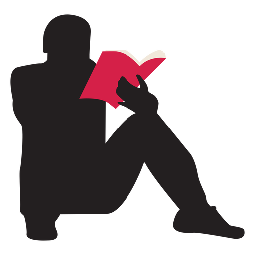 Hombre leyendo silueta