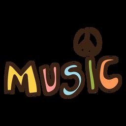 Doodle de hippie de letras de música