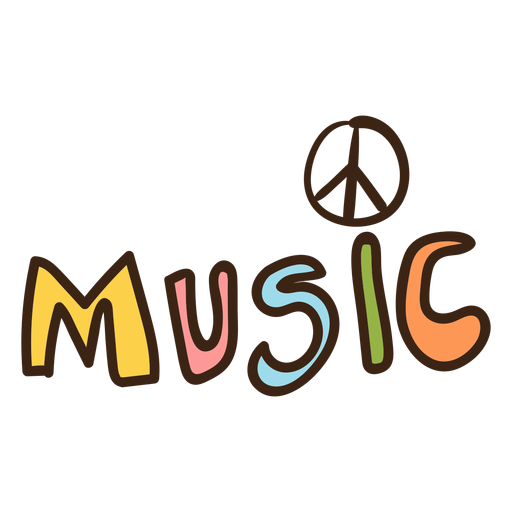 Doodle hippie de letras de música Transparent PNG