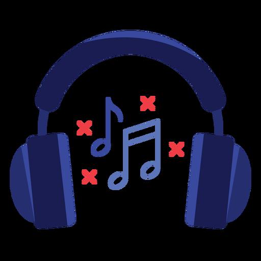 Music notes headphones icon