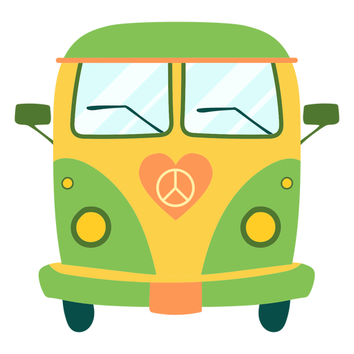Painted hippie bus element Transparent PNG