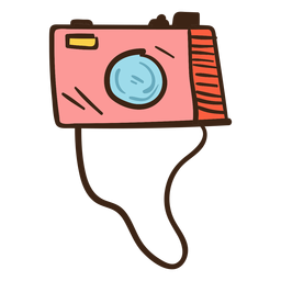 Photo camera colored doodle