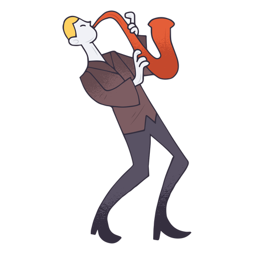 Saxophone player cartoon Transparent PNG