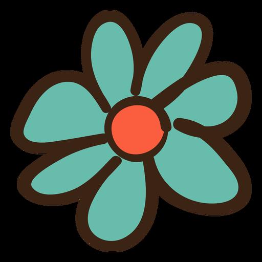 Doodle de flor simple color Transparent PNG