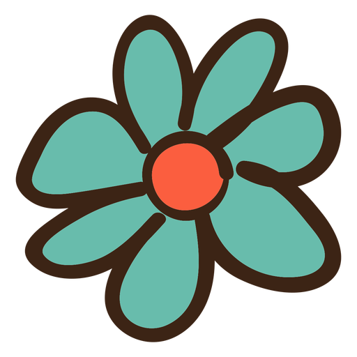 Simple flower colored doodle Transparent PNG