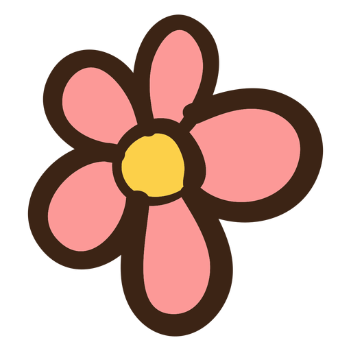 Simple flower hippie doodle Transparent PNG