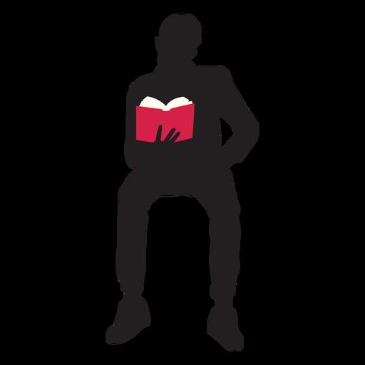 Sentado hombre leyendo silueta