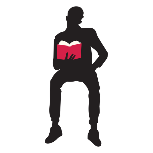 Sitting man reading silhouette Transparent PNG