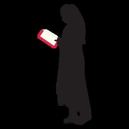 Mujer de pie leyendo silueta