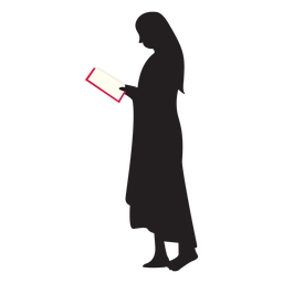 Standing woman reading silhouette