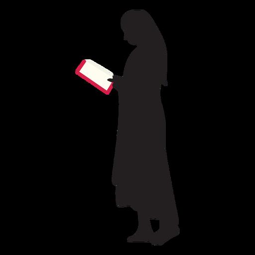 Mujer de pie leyendo silueta Transparent PNG