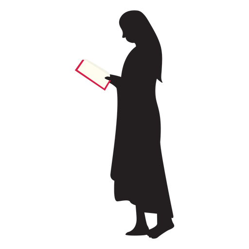 Standing woman reading silhouette Transparent PNG