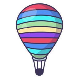 Striped hot air balloon icon