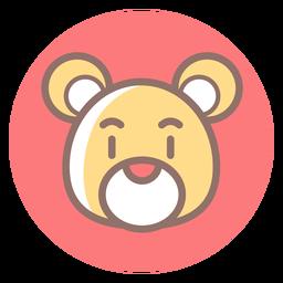 Icono de círculo de cabeza de oso de peluche