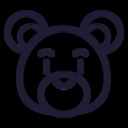 Ícone de traço de cabeça de urso de pelúcia