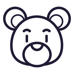 Teddy bear head stroke icon